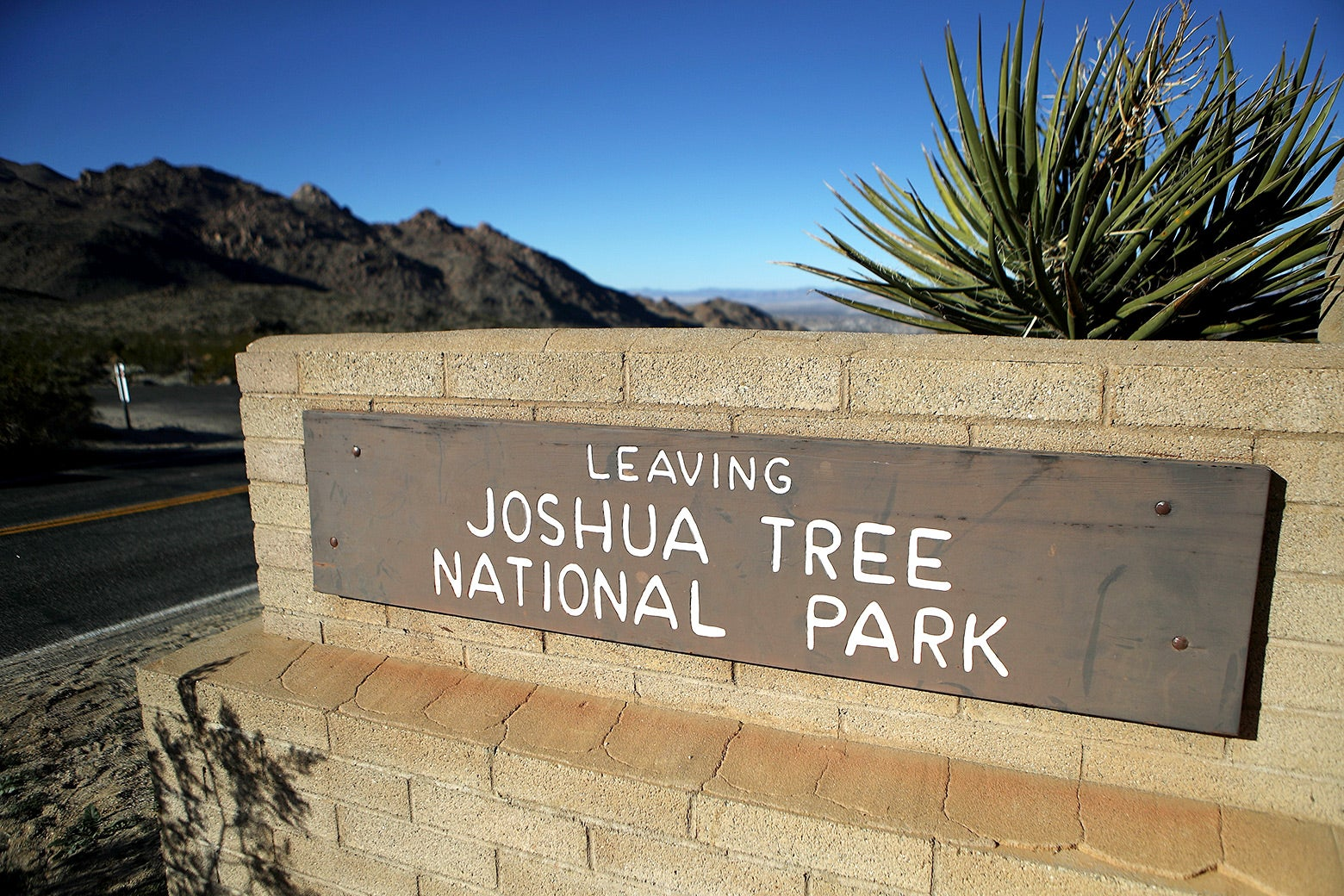 "A sign depicting ""Leaving Joshua Tree National Park"" as seen on Jan. 4 in California."