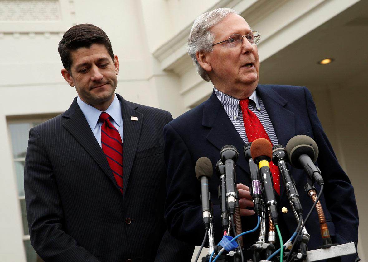 U.S. House Speaker Paul Ryan (R-WI) (L) and Senate Majority Leader Mitch McConnell (R-KY)