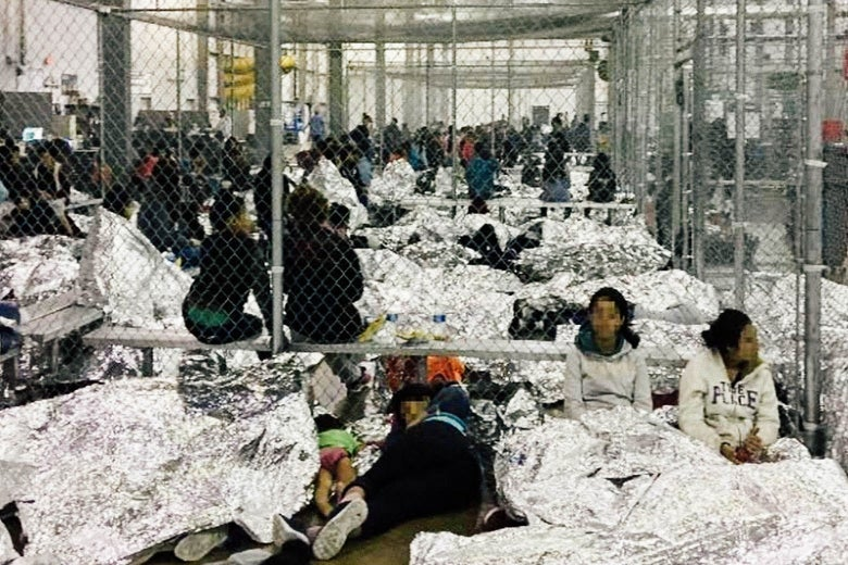 Migrants in a detention center.
