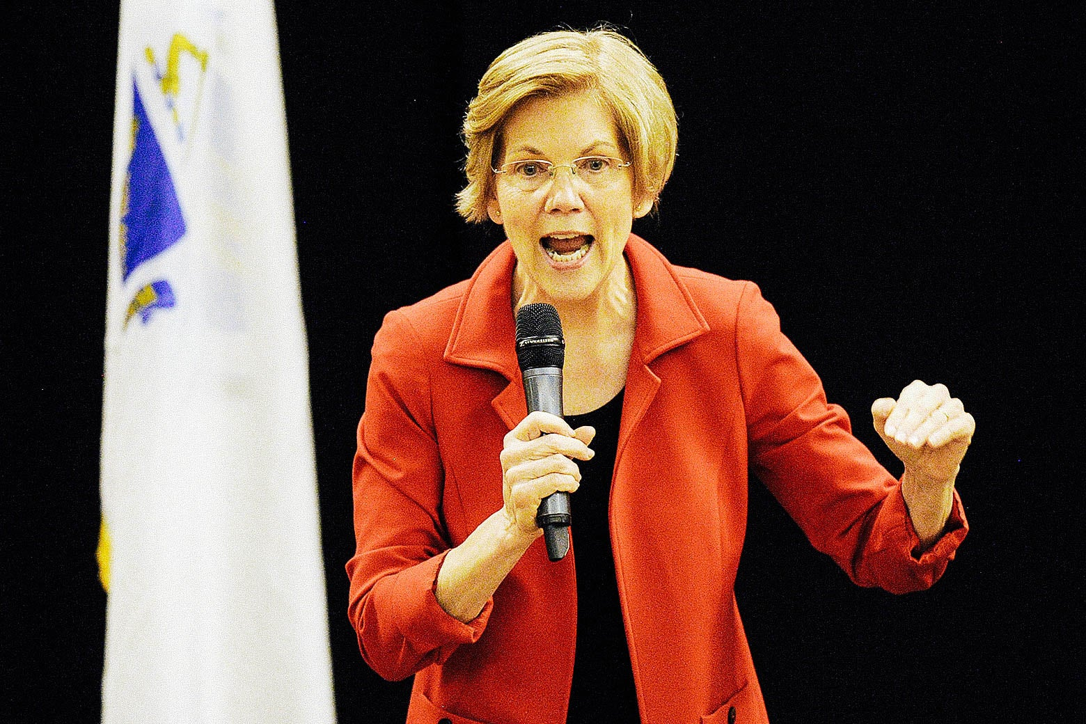 Elizabeth Warren speaks into a microphone.