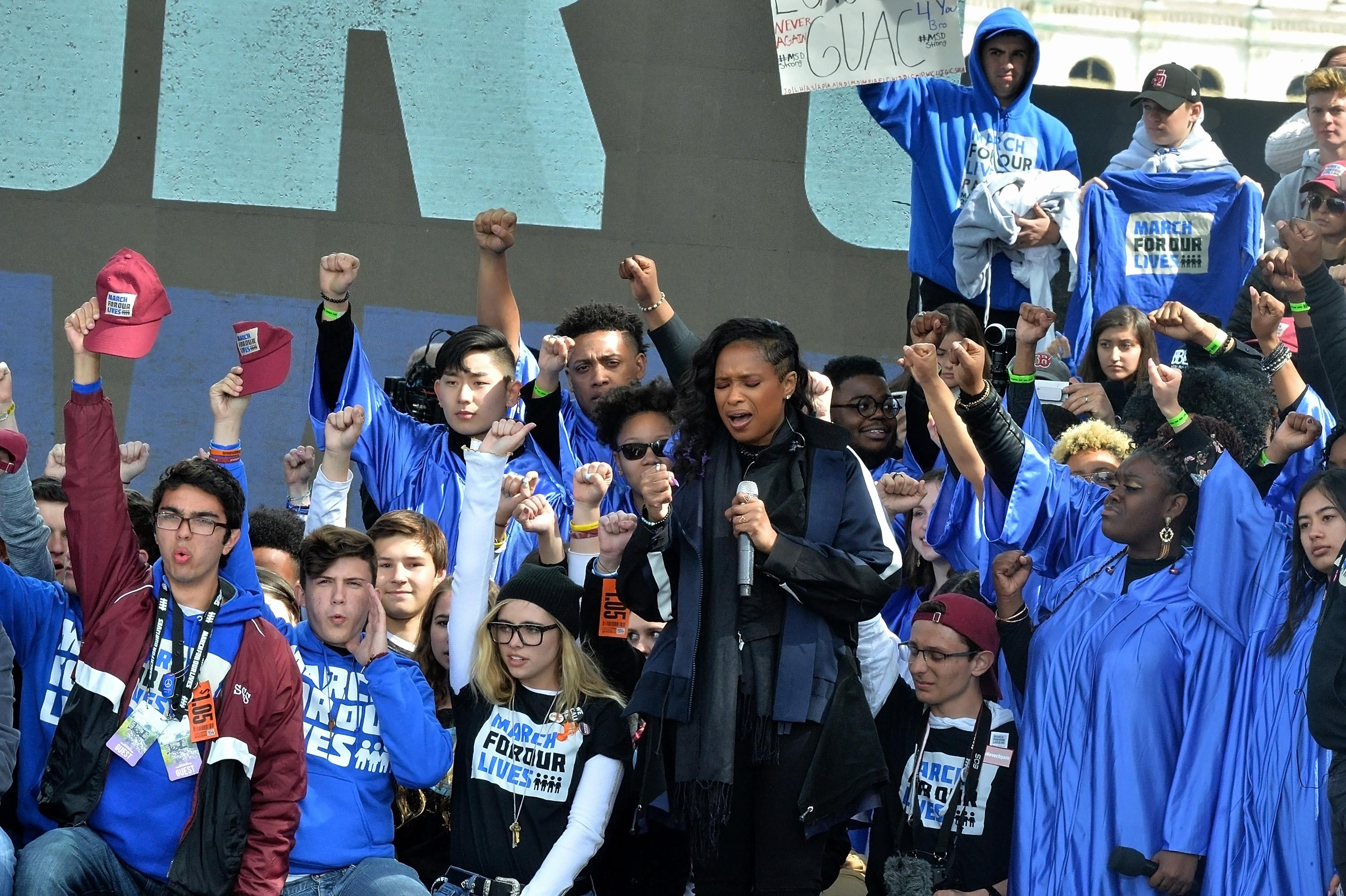 WASHINGTON, DC - MARCH 24:  Jennifer Hudson sings at the March for Our Lives Rally on March 24, 2018 in Washington, DC.  (Photo by Shannon Finney/Getty Images)