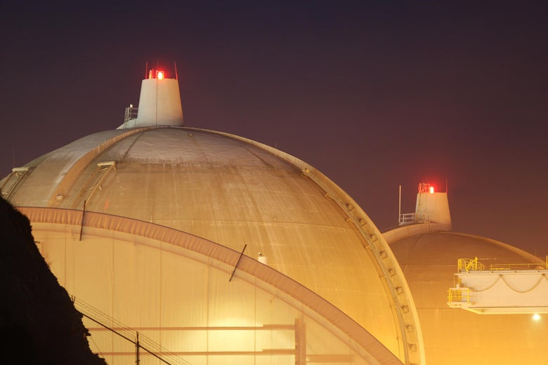 The twin domes of the San Onofre Nuclear Generating Station.