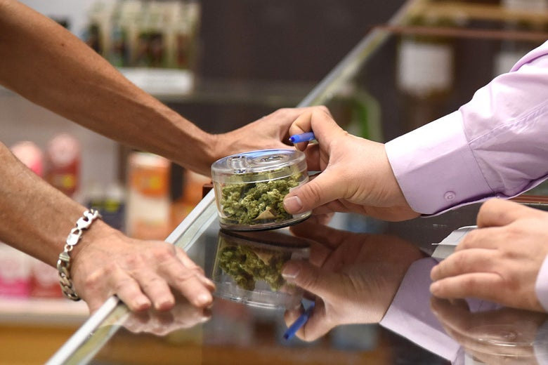 A budtender shows cannabis buds to a customer at the Green Pearl Organics dispensary in Desert Hot Springs, California, on Monday, the first day of legal recreational marijuana sales in the state.