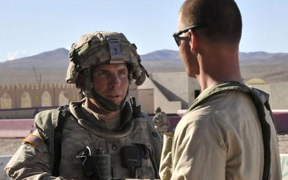 U.S. Army Staff Sgt. Robert Bales, left, at the National Training Center in Fort Irwin