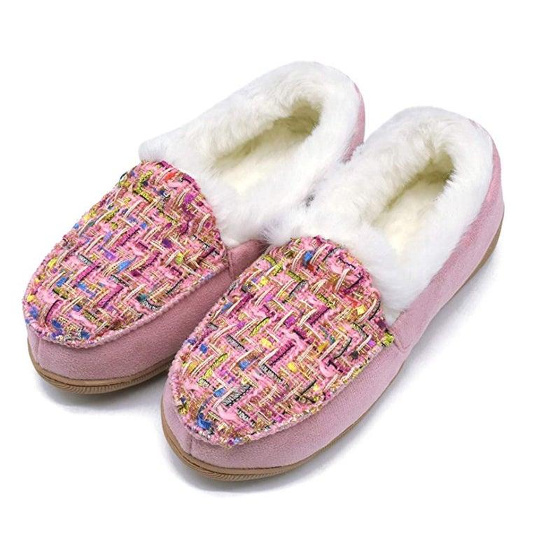 Pink moccasins.