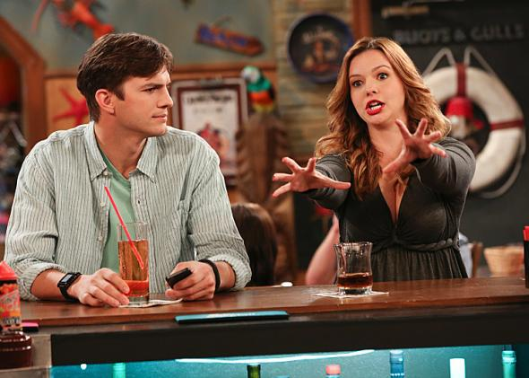 Ashton Kutcher and Amber Tamblyn in Two and a Half Men