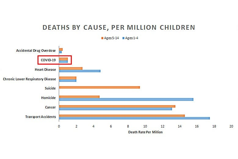 A chart measuring death by specific causes per million children.