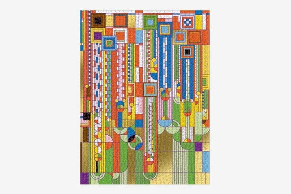 """Galison Frank Lloyd Wright """"Saguaro Forms and Cactus Flowers"""" Gold Foil 1,000-Piece Puzzle"""
