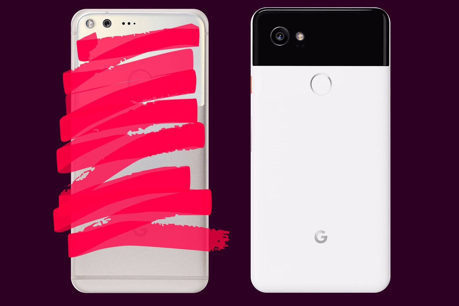 Photo illustration: a Pixel phone that is crossed-out and a Pixel 2 phone.