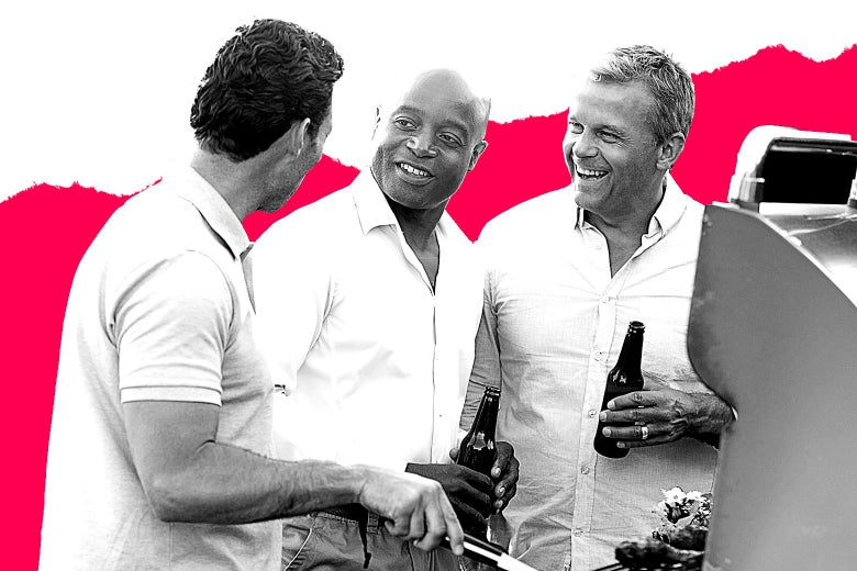 A black man surrounded by two laughing white men at a barbecue.