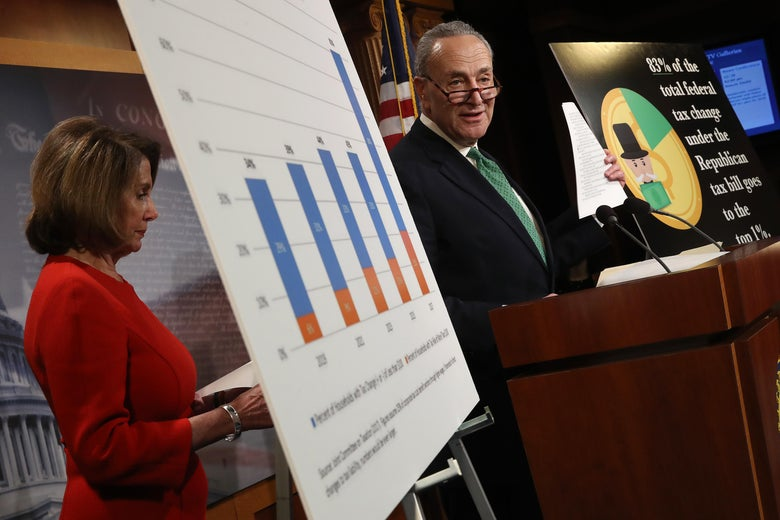 Nancy Pelosi and Chuck Schumer present posters during a press conference on Capitol Hill.