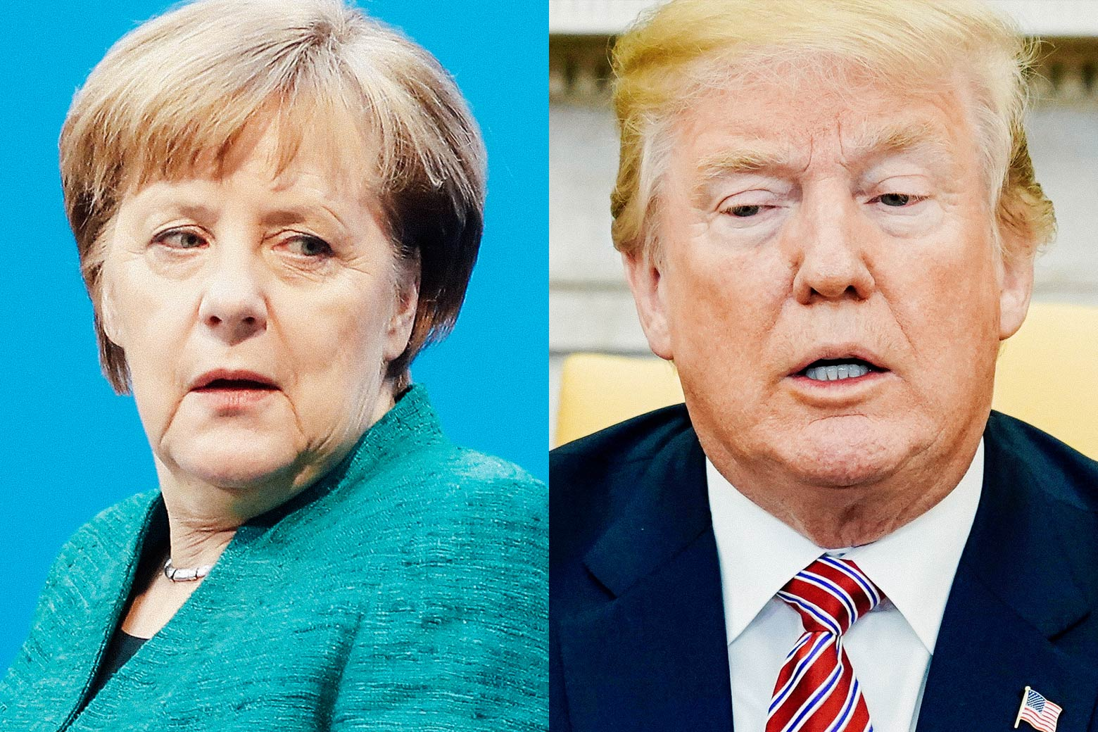 A side-by-side collage of Angela Merkel and Donald Trump.