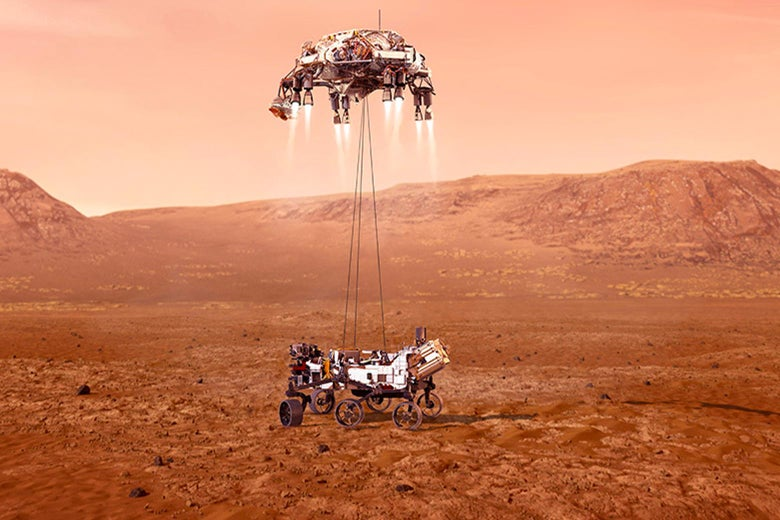 NASA's Perseverance rover landing safely as it being dropped by ropes onto the surface of Mars.