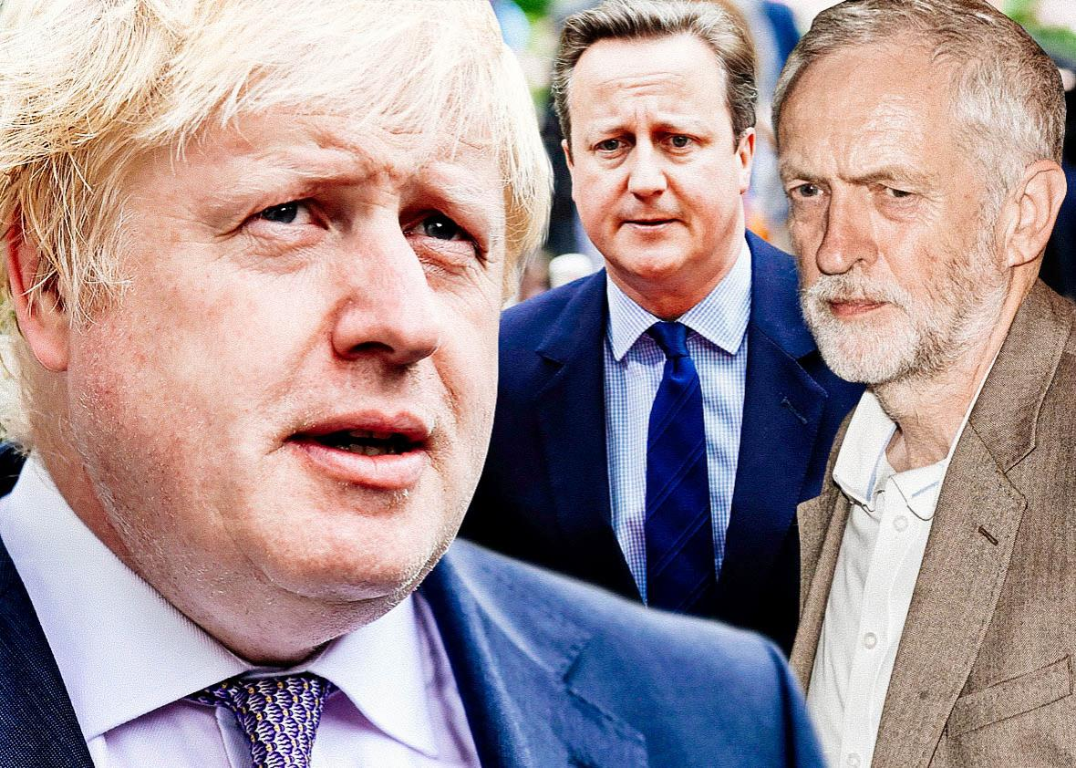 Former London Mayor Boris Johnson, United Kingdom Prime Minister David Cameron, Labour Party Leader Jeremy Corbyn.