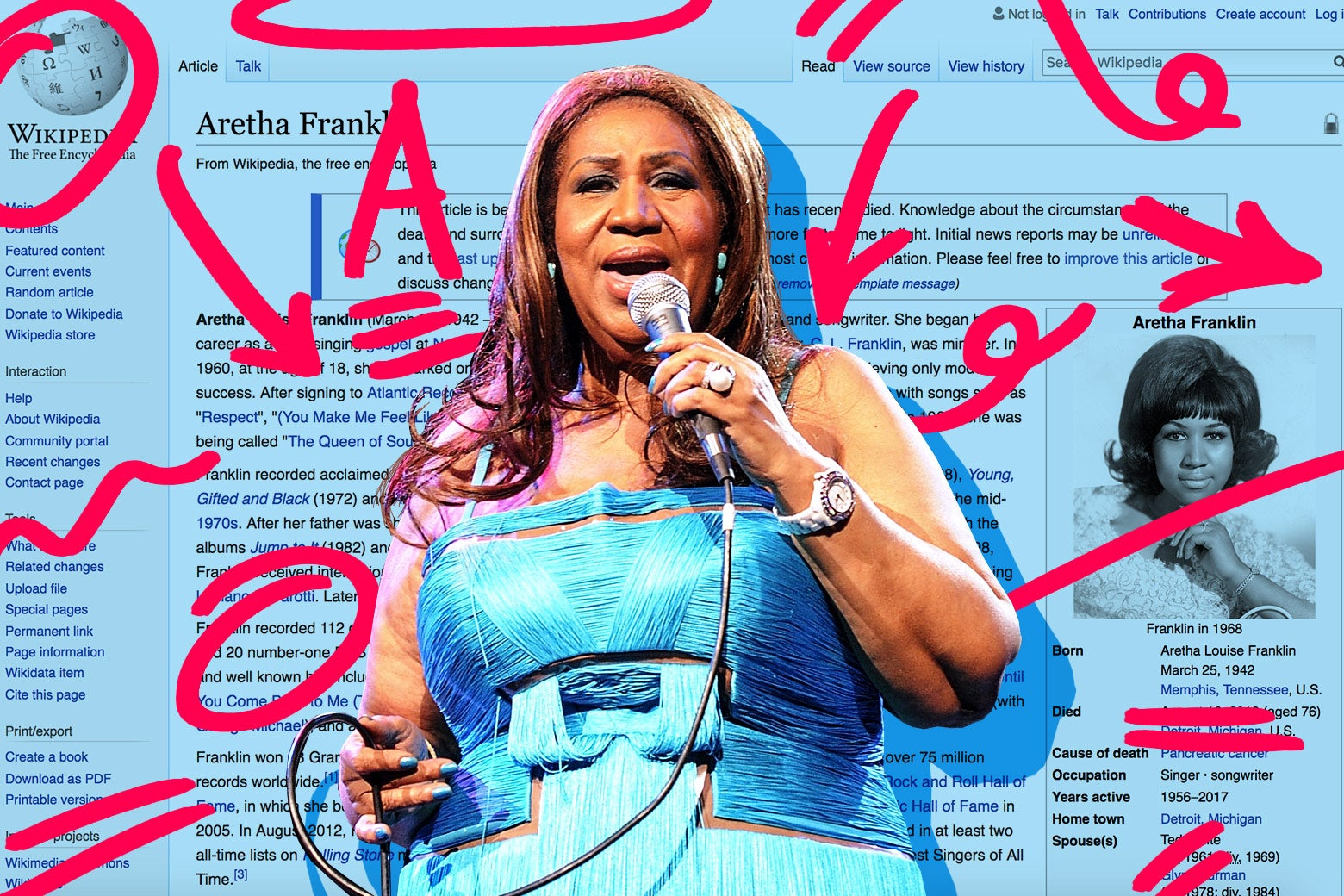 A photo of Aretha Franklin laid over her Wikipedia page, with editing marks throughout.