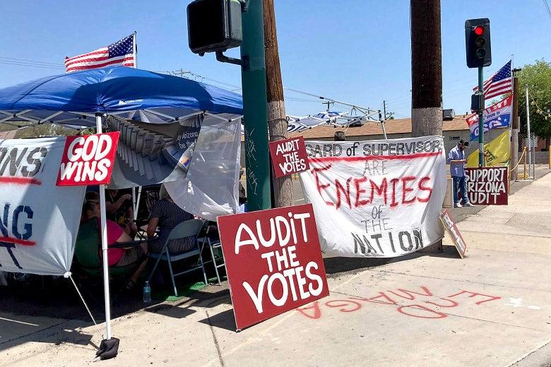 An encampment outsise of the Arizona ballot audit.
