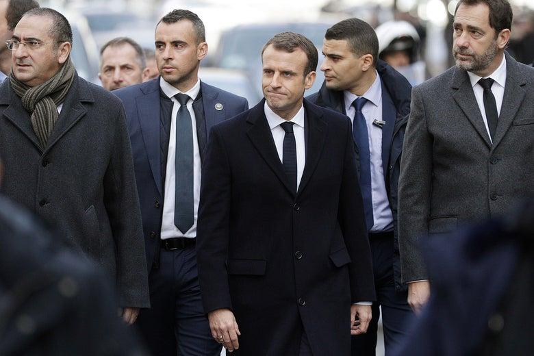 Macron, Interior Minister Christophe Castaner, Junior Minister Laurent Nunez