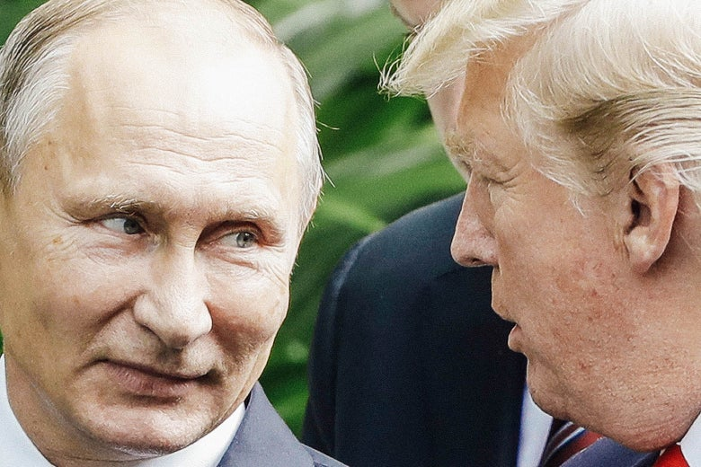 Vladimir Putin looks toward Donald Trump as they converse.