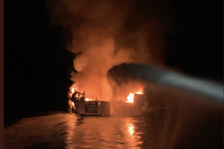 A photo posted on Twitter by the Ventura County Fire Department shows a boat engulfed in flames on Sept. 2, 2019.