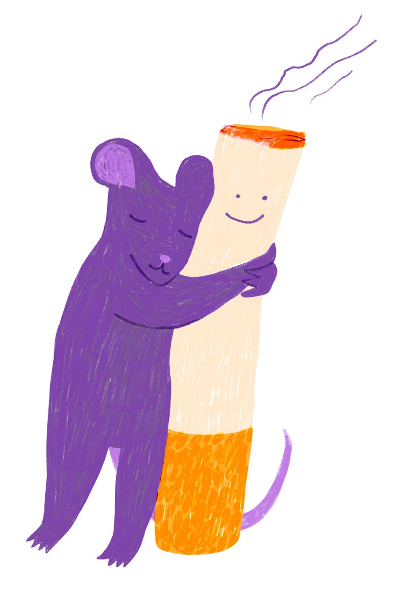 A purple rat hugs a cigarette.