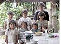 Rafael Ugarte's daughters and nieces in their home