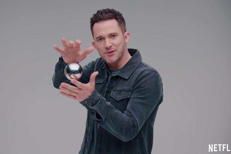 Justin Willman, levitating a ball.