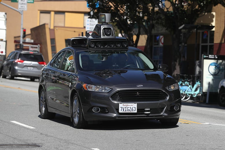 An Uber self-driving car on the streets of San Francisco on March 28, 2017.