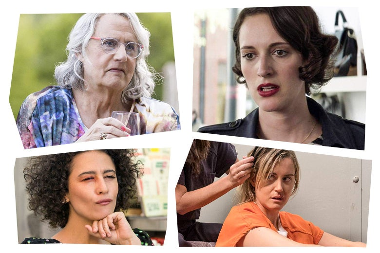 Collage of images from Transparent, Fleabag, Broad City, and Orange Is the New Black.