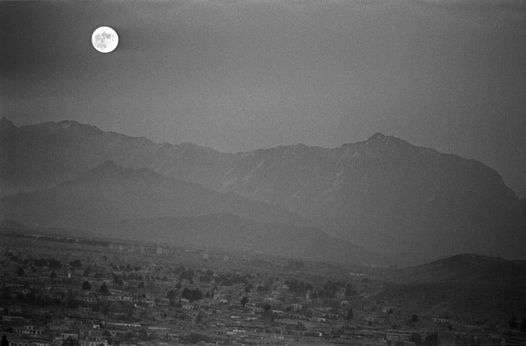 Landscape of Kabul with full moon during the Taliban regime in Kabul, Afghanistan  on November 20.1996