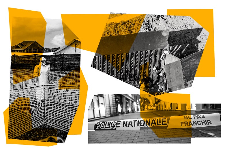 The Slate News Quiz images of Ebola, France, and the Mexican US border wall.
