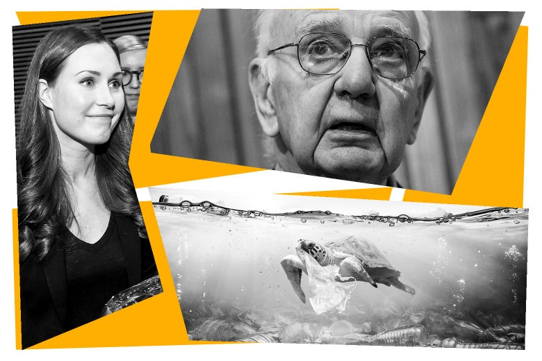 Sanna Marin, Paul Volcker, and a view of a body of water with garbage in it