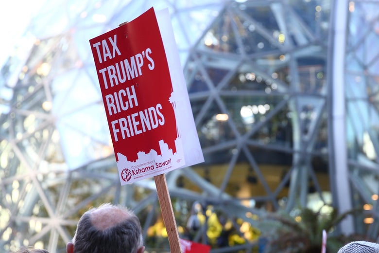 Tax cut protester