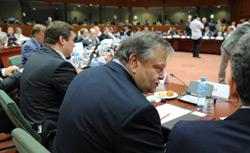 Greek Finance Minister  Evangelos Venizelos  is seen prior an ECOFIN Council. Click image to expand.