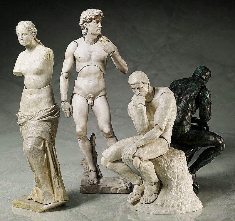 Famous Sculpture Action Figures Of The Venus De Milo Rodin S Thinker And Michelangelo S David