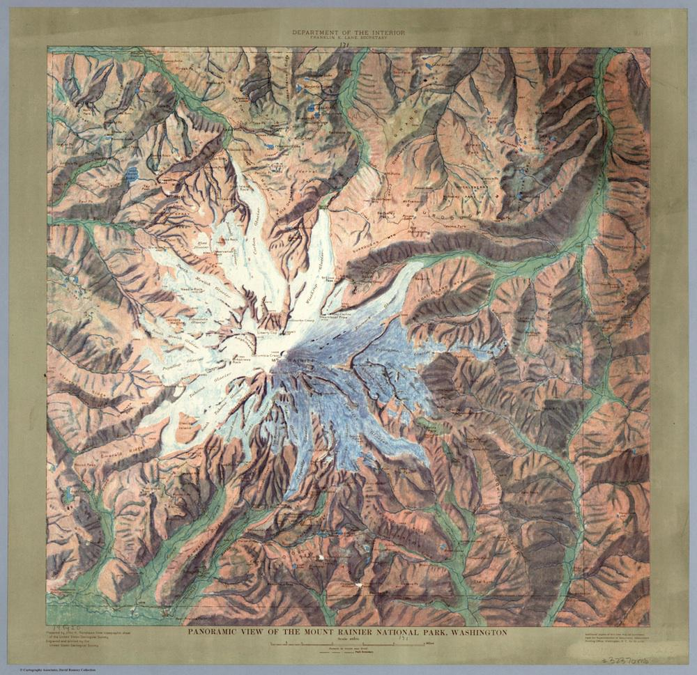 Mt Rainier Topographic Map.Gorgeous 1914 Relief Maps Of Six National Parks
