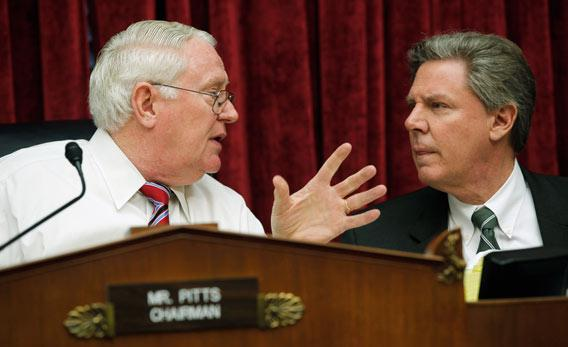 House Health Subcommittee Chairman Joe Pitts, R-Pa., and ranking member Rep. Frank Pallone, D-N.J., talk before a hearing on Capitol Hill
