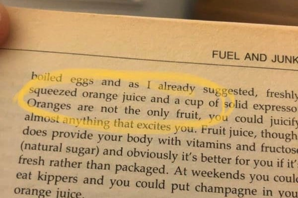"Photo of a book, with ""Oranges are not the only fruit"" circled"