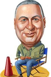 Illustration of Errol Morris in a director's chair by Charlie Powell.