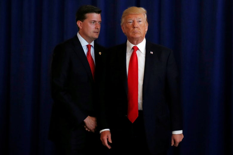 Rob Porter with Donald Trump in Bedminster, New Jersey on Aug. 12, 2017.