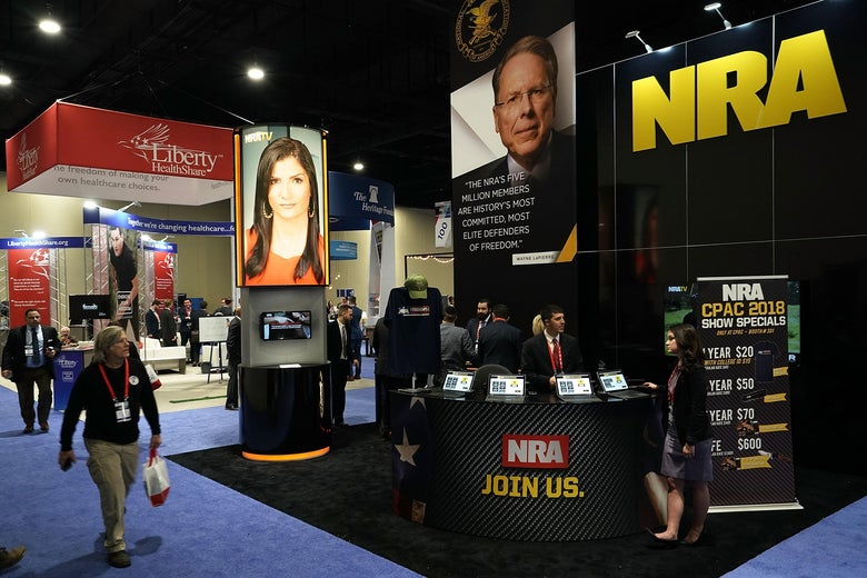 The booth of National Rifle Association (NRA) is seen during CPAC 2018 February 22, 2018 in National Harbor, Maryland.