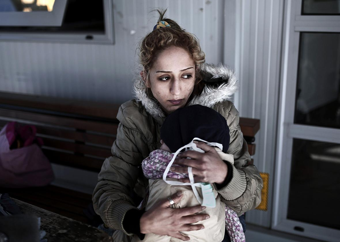 Rescued woman and child