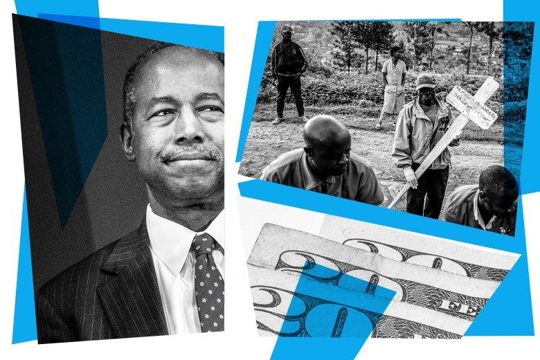 Photo collage of Ben Carson, health workers burying Ebola dead, and $20 bills.