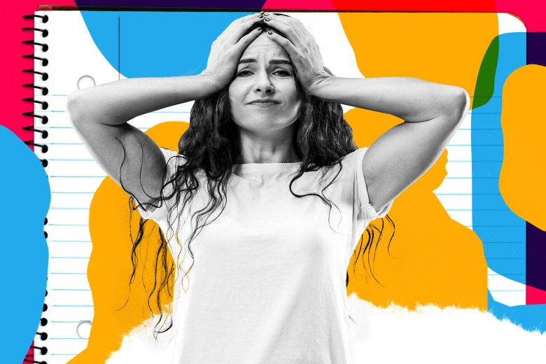 Photo illustration of a woman pulling her hair out in front of a notebook.