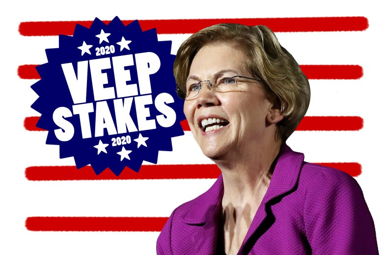 "Elizabeth Warren in a purple jacket against a background of red stripes on white, next to a blue badge reading ""2020 VEEP STAKES 2020"""