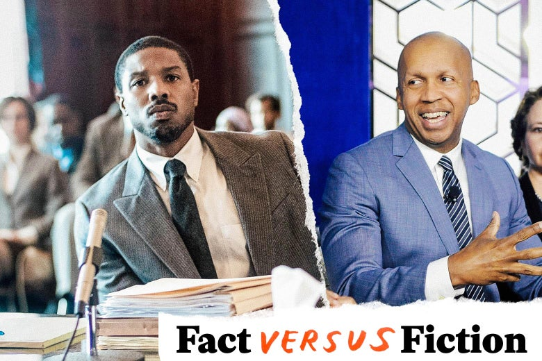Michael B. Jordan, looking dapper in a silver suit. Bryan Stevenson, also looking dapper and handsome, albeit in a blue suit, and not *quite* as handsome. In the bottom right, the Fact vs. Fiction series logo.