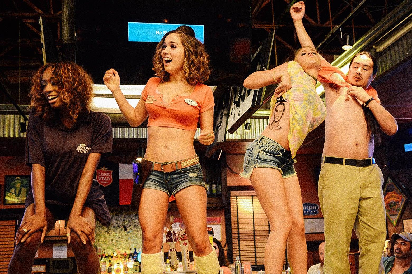 Shayna McHayle, Haley Lu Richardson, AJ Michalka, and John Elvis in Support the Girls.
