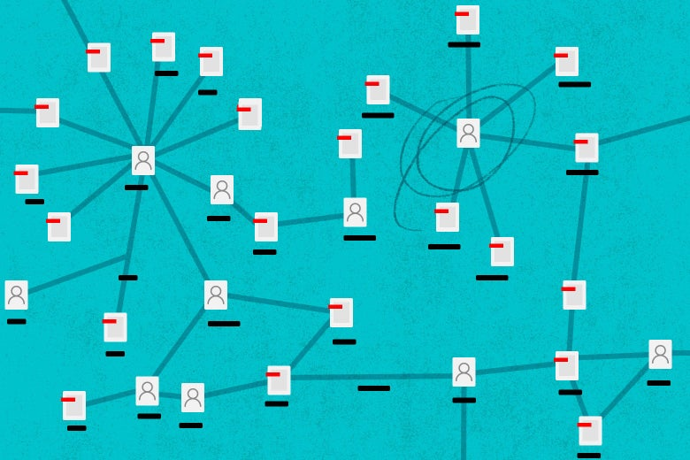 An illustration of a social network shows lines connecting people and files.