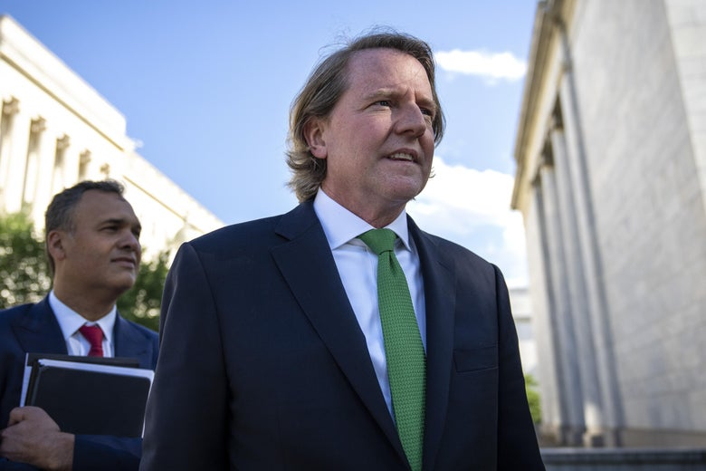Former White House counsel Don McGahn leaves Capitol Hill after closed door meeting with the House Judiciary Committee on June 4, 2021 in Washington, D.C.