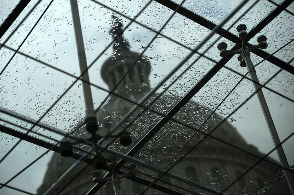 The Dome of the Capitol Building is seen through a skylight window, Sept. 27, 2013.