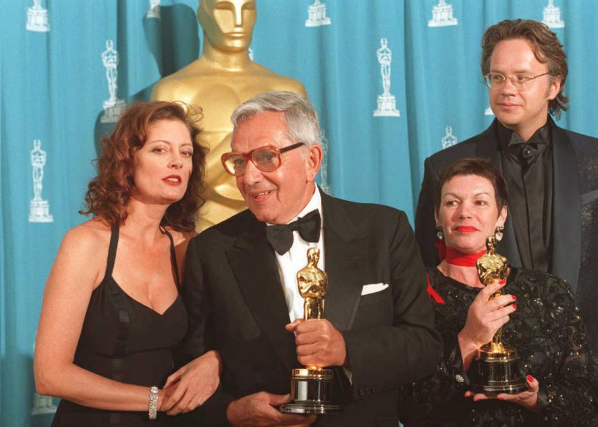 Ken Adam with his Oscar for The Madness of King George in 1995. He also won for Barry Lyndon.